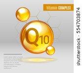 vitamin q10 gold shining pill... | Shutterstock .eps vector #554703874
