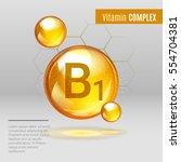 vitamin b1 gold shining pill... | Shutterstock .eps vector #554704381