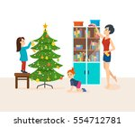 young mother a housewife is... | Shutterstock .eps vector #554712781