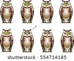 cartoon of a brown owl with big ...