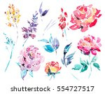 spring floral set of abstract... | Shutterstock . vector #554727517