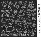princess doodle icons for baby...   Shutterstock .eps vector #554728411