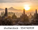 sunrise at borobudur  indonesia | Shutterstock . vector #554740939