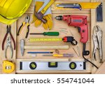 construction tools on worker... | Shutterstock . vector #554741044