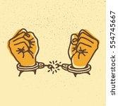 hands with broken shackles.... | Shutterstock .eps vector #554745667
