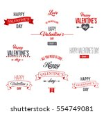 happy valentines day lettering... | Shutterstock .eps vector #554749081
