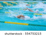 swimming in the pool is not... | Shutterstock . vector #554753215