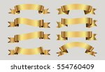 set of golden ribbons on gray... | Shutterstock .eps vector #554760409