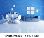 Modern  Dining Room  With Blue...