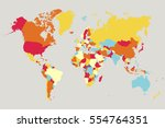 world map countries vector on... | Shutterstock .eps vector #554764351