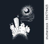 cartoon dark city. raster... | Shutterstock . vector #554774425