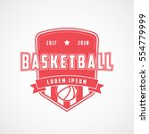 basketball emblem red flat icon ... | Shutterstock .eps vector #554779999
