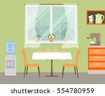 kitchen in orange color. there... | Shutterstock .eps vector #554780959