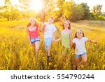 four happy beautiful children...   Shutterstock . vector #554790244