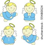set of isolated cute little... | Shutterstock .eps vector #55480024