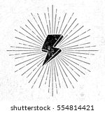 vintage thunder symbol with... | Shutterstock .eps vector #554814421