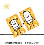 couple on beach towels | Shutterstock .eps vector #55482649