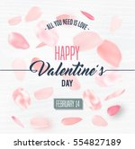 happy valentines day card with... | Shutterstock .eps vector #554827189