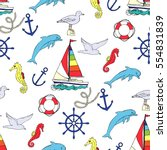 nautical seamless pattern with... | Shutterstock .eps vector #554831839