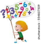 little boy catching numbers... | Shutterstock .eps vector #554837509