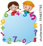 border template with kids and... | Shutterstock .eps vector #554837785