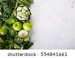 variety of green vegetables and ... | Shutterstock . vector #554841661