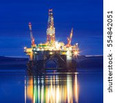 semi submersible oil rig during ... | Shutterstock . vector #554842051
