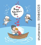 couple on the boat in happy... | Shutterstock .eps vector #554845225