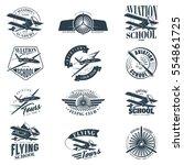 retro aviation set of... | Shutterstock .eps vector #554861725