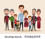 big happy family isolated... | Shutterstock .eps vector #554863939