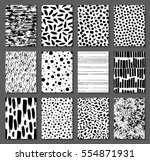 Set of 12 seamless texture. Drops, points, lines, stripes, circles, squares, rectangles. Abstract forms drawn a wide pen and ink. Backgrounds in black and white. Hand drawn. Vector illustration.