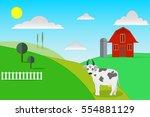 flat design farm with cute cow
