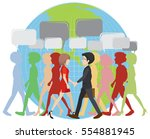 infographic with people walking ... | Shutterstock .eps vector #554881945