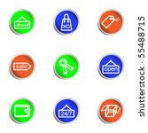set of 9 glossy web icons  set... | Shutterstock .eps vector #55488715