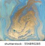 blue and golden liquid texture  ...   Shutterstock . vector #554890285