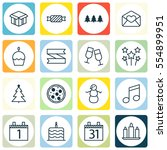 set of 16 holiday icons.... | Shutterstock . vector #554899951