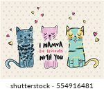 cats vector  t shirt print ... | Shutterstock .eps vector #554916481