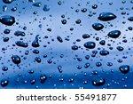 Colorful Blue Rain Drops On A...