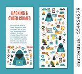 hacking and cyber crime  ... | Shutterstock .eps vector #554934379