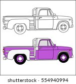 the pickup truck is purple and... | Shutterstock .eps vector #554940994