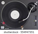 dj turntable playing vinyl... | Shutterstock . vector #554947351