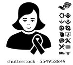 girl with sympathy ribbon icon...   Shutterstock .eps vector #554953849