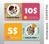 voucher or coupon for lunch... | Shutterstock .eps vector #554959741