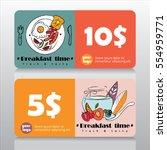 voucher or coupon for breakfast ... | Shutterstock .eps vector #554959771