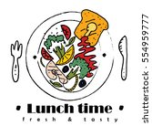 lunch deal logo or label in... | Shutterstock .eps vector #554959777