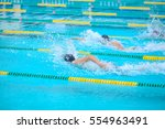 swimming in the pool is not... | Shutterstock . vector #554963491