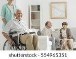 retirement home with elder man... | Shutterstock . vector #554965351