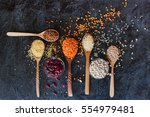 raw organic cereal grains ... | Shutterstock . vector #554979481