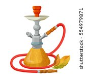 hookah calabash with one long... | Shutterstock .eps vector #554979871