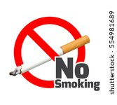 no smoking sign. red alert... | Shutterstock .eps vector #554981689